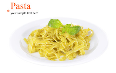 Delicious pasta with pesto on plate isolated on white