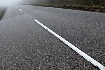 Straße/ Nebel/ Verkehr - Felder