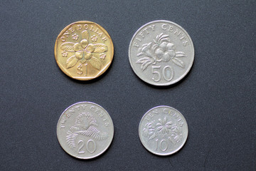 Singapore coins with black background