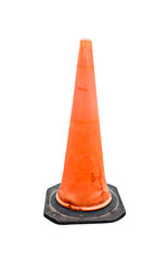 Old Traffic cone - barricade warning cones on white background,