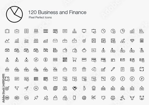 120 Business and Finance Pixel Perfect Icons (line style) poster