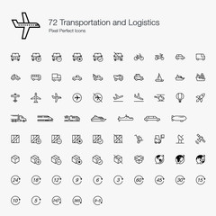 72 Transportations Logistics Pixel Perfect Icons (line style)