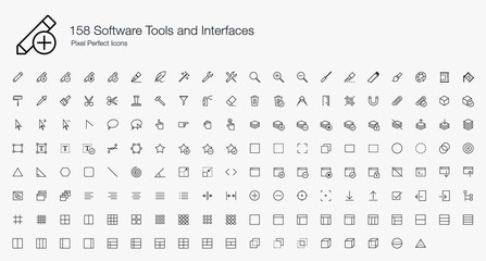 158 Software Tools Interfaces Pixel Perfect Icons (line style)