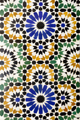 Morrocan traditional mosaic ornament from Ben Youssef Madrasa