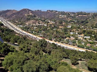 Southern California Congested Highway Aerial View in Los Angeles