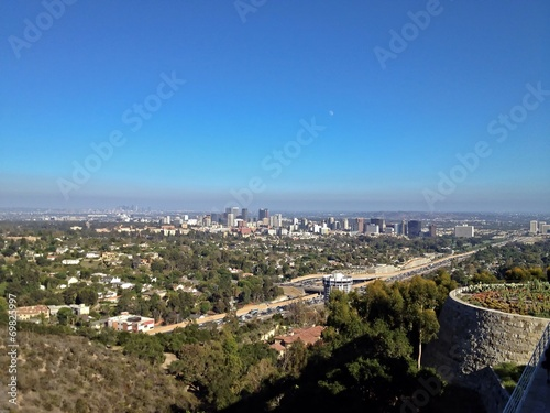 Aerial View of the Los Angeles City Skyline, California, America
