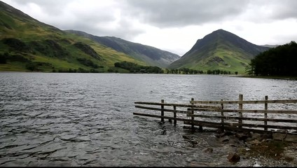 Overcast choppy day Lake District Buttermere Cumbria UK