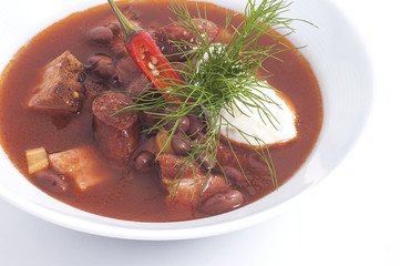 Meat soup with red pepper