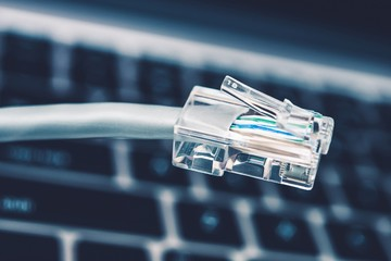 RJ45 Network Cable Closeup