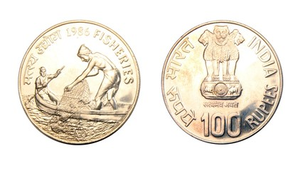 India 100 Rupees 1986 Fisheries coin