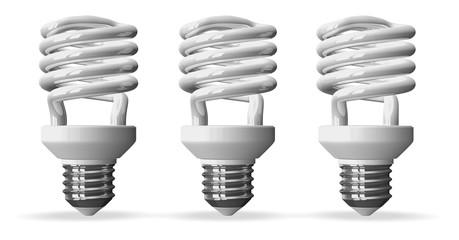 Three fluorescent light bulbs isolated