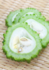 Bitter cucumber or bitter melon on a white background