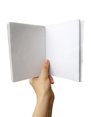 hand holding white notebook isolated on white background