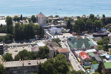 Железнодорожная станция Лазаревская вид сверху