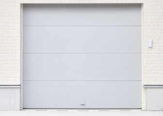 Illuminated grunge metallic roller white shutter door