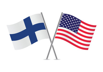 American and Finnish flags. Vector illustration.