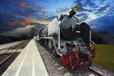 stream engine locomotive train on railways track with beautiful