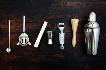 Set of bar or pub accessories