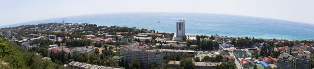 Вид сверху на курортный посёлок Лазаревское. Панорама