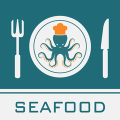 Squid, Fork, Knife, Dish icon, restaurant sign