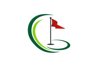 golf land play tournament vector logo
