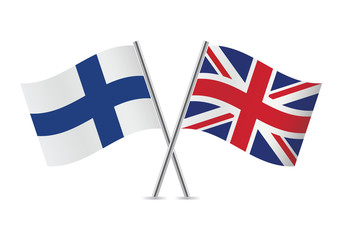 British and Finnish flags. Vector illustration.