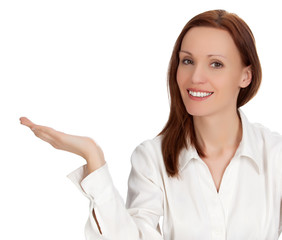 Businesswoman shows something on her palm