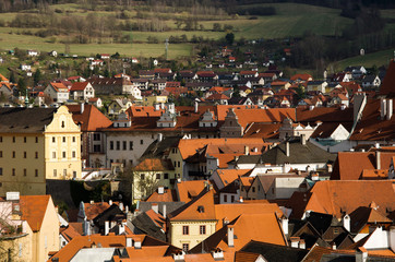 Old town roof view of Cesky Krumlov