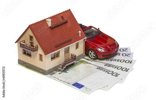 Leinwanddruck Bild Покупка дома и машины