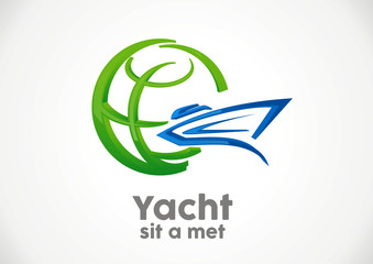 Travel yacht in the sea vacation in world logo vector.