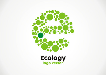 Stamp eco green circle letter E logo vector