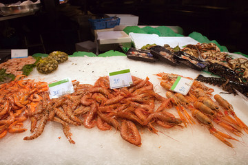 Fresh Prawns on a Seafood Market Stall