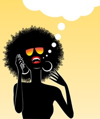 African lady talking on a cell phone