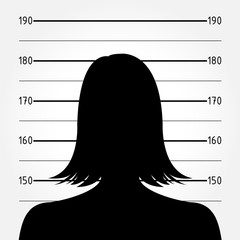 Silhouette of  anonymous woman in mugshot or police lineup