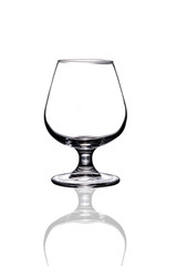 Brandy glass on white background