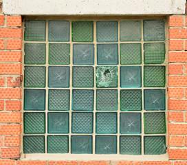 Window of glass bricks