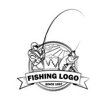 Wędkarstwo logo, logotyp bass