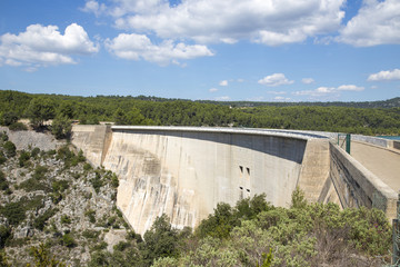 Dam wall in Bimont park, Provence, France