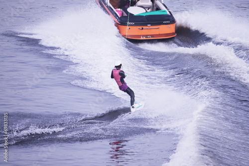 Fotobehang Water Motorsp. ウェイクボード