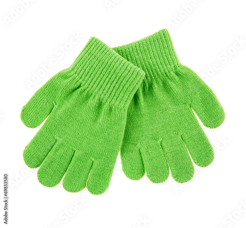 canvas print picture knitted woolen baby gloves