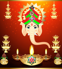 diwali Festival Background  with ganesha g