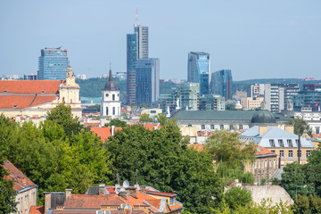 Top view of the old city and the new modern buildings. Vilnius,