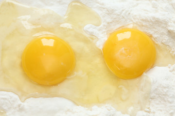 Two egg yolks and flour