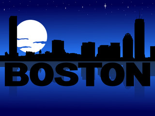 Boston skyline reflected with text and moon illustration