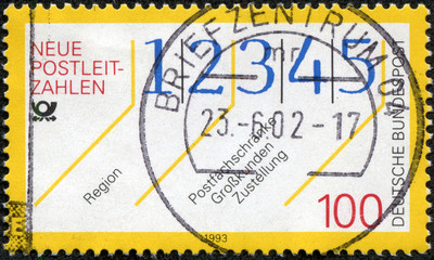 stamp printed in Germany, shows New postal codes