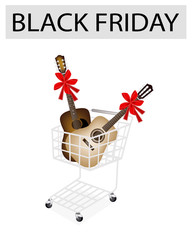 Guitar with Red Ribbon in Black Friday Shopping Cart