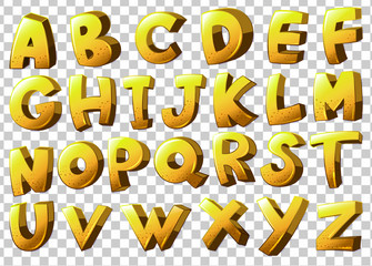 Alphabets in yellow color
