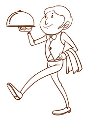 A simple drawing of a waiter