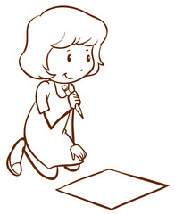 A simple drawing of a girl writing
