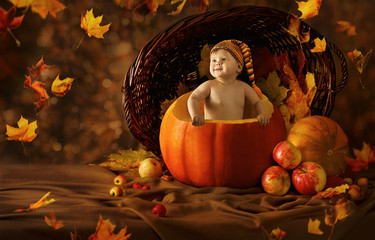 Autumn Baby Pumpkin. Little Kid Artistic Portrait